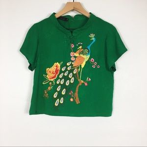 Tops - Japanese Inspired Embroidered Peacock Square Top